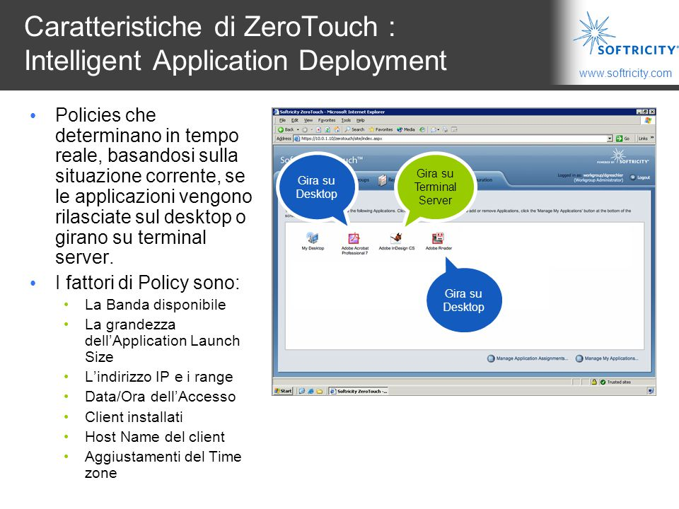 Caratteristiche di ZeroTouch : Intelligent Application Deployment