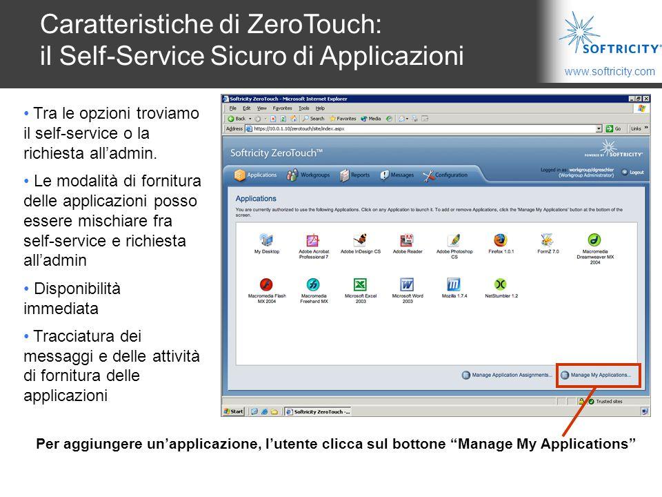 Caratteristiche di ZeroTouch: il Self-Service Sicuro di Applicazioni