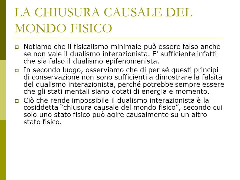 LA CHIUSURA CAUSALE DEL MONDO FISICO