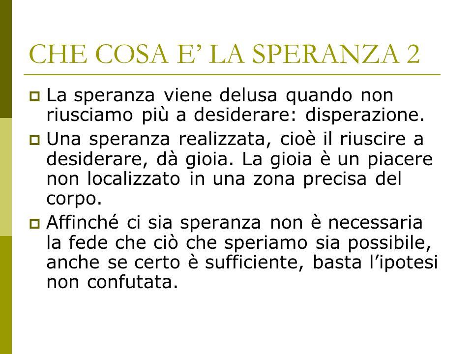 CHE COSA E' LA SPERANZA 2 La speranza viene delusa quando non riusciamo più a desiderare: disperazione.
