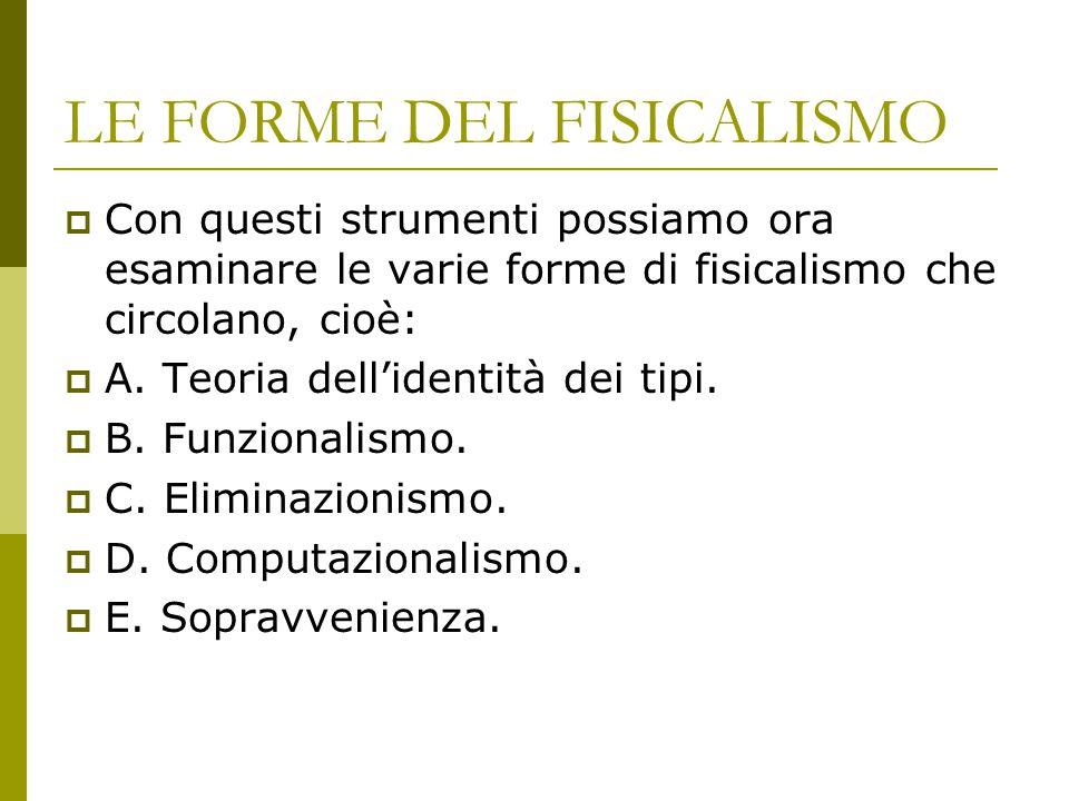 LE FORME DEL FISICALISMO