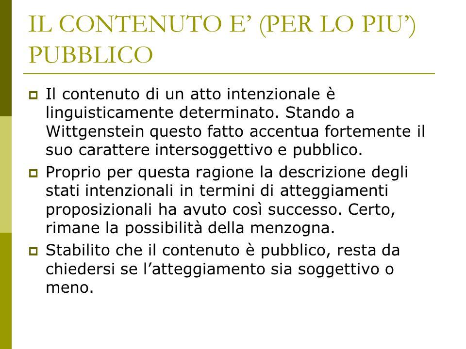 IL CONTENUTO E' (PER LO PIU') PUBBLICO