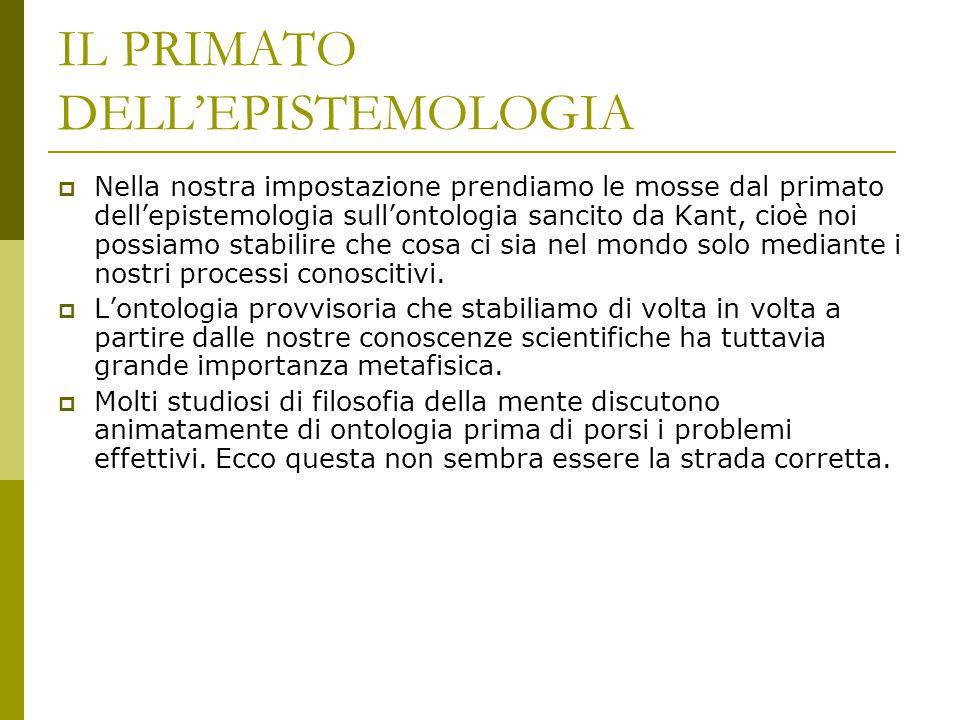 IL PRIMATO DELL'EPISTEMOLOGIA