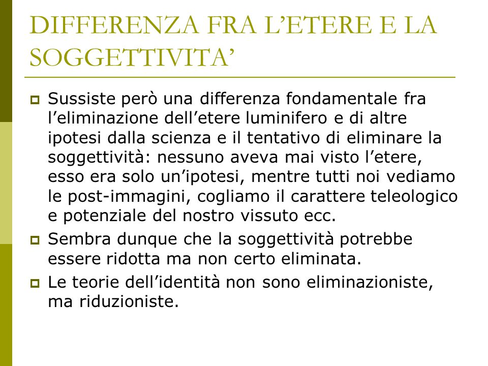 DIFFERENZA FRA L'ETERE E LA SOGGETTIVITA'