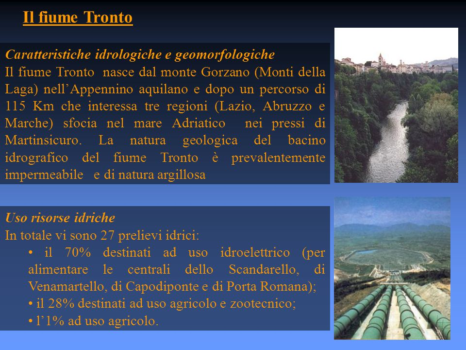 Il fiume Tronto Caratteristiche idrologiche e geomorfologiche