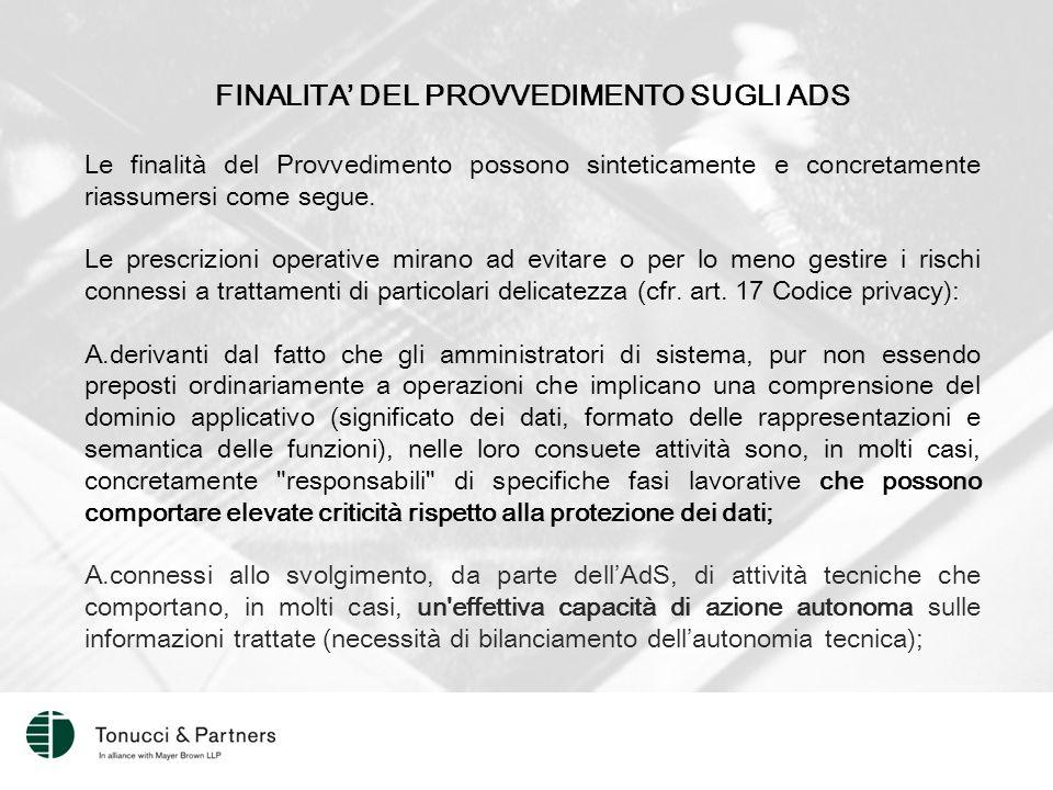 FINALITA' DEL PROVVEDIMENTO SUGLI ADS