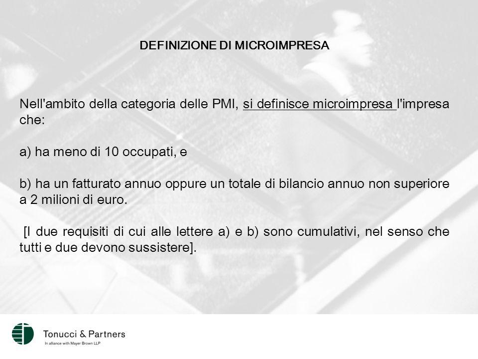 DEFINIZIONE DI MICROIMPRESA