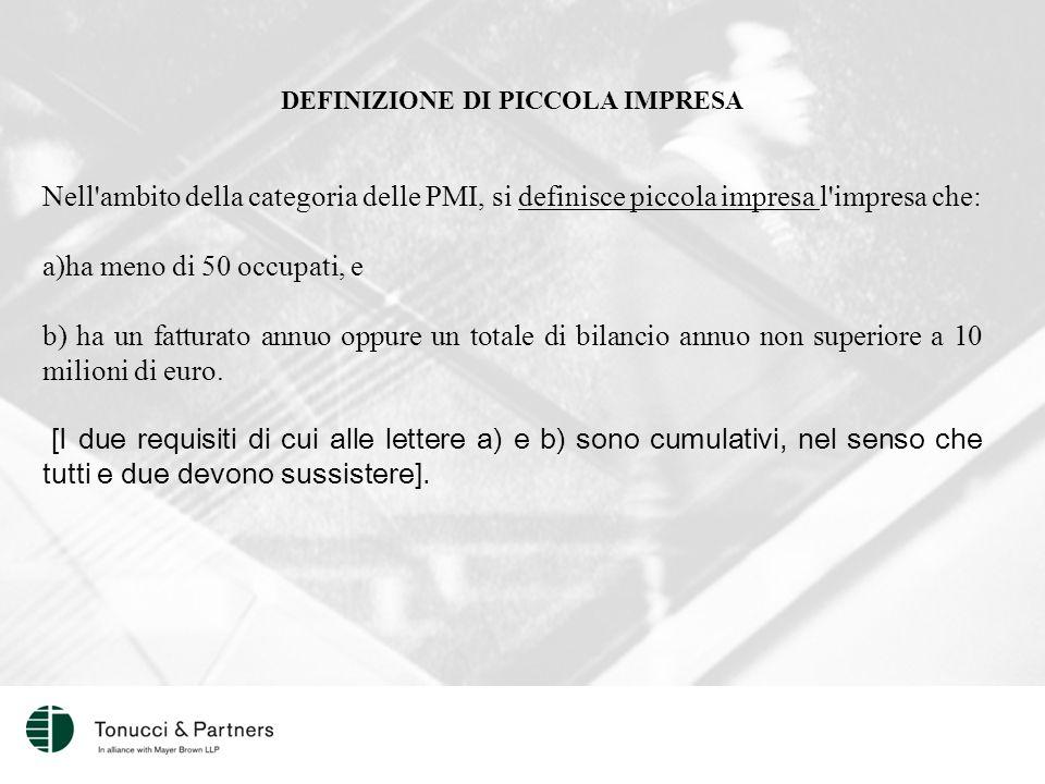 DEFINIZIONE DI PICCOLA IMPRESA