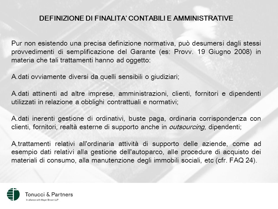 DEFINIZIONE DI FINALITA' CONTABILI E AMMINISTRATIVE
