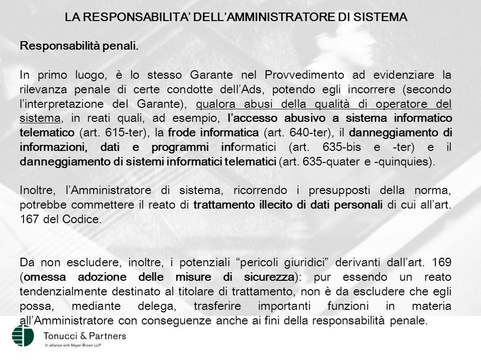 LA RESPONSABILITA' DELL'AMMINISTRATORE DI SISTEMA