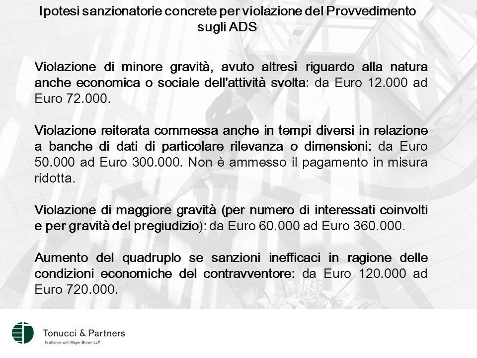 Ipotesi sanzionatorie concrete per violazione del Provvedimento sugli ADS