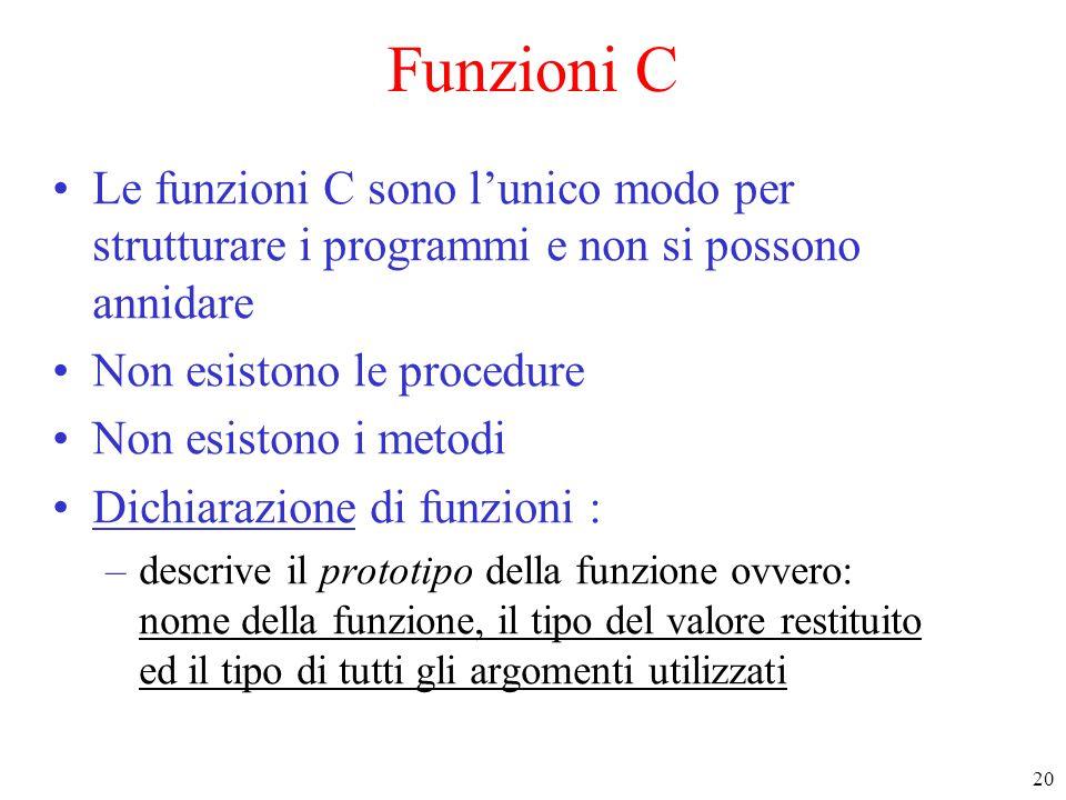 Funzioni C Le funzioni C sono l'unico modo per strutturare i programmi e non si possono annidare. Non esistono le procedure.