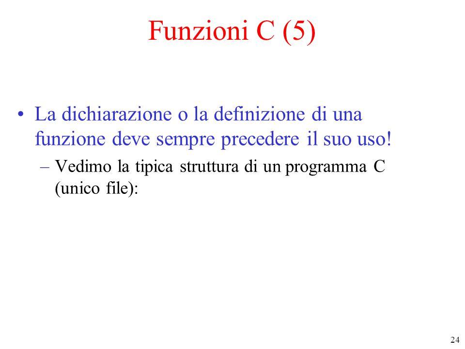 Funzioni C (5) La dichiarazione o la definizione di una funzione deve sempre precedere il suo uso!