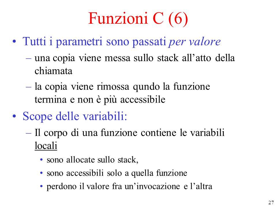 Funzioni C (6) Tutti i parametri sono passati per valore
