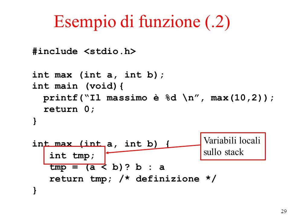 Esempio di funzione (.2) #include <stdio.h>