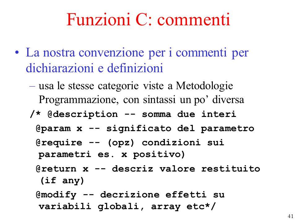 Funzioni C: commenti La nostra convenzione per i commenti per dichiarazioni e definizioni.