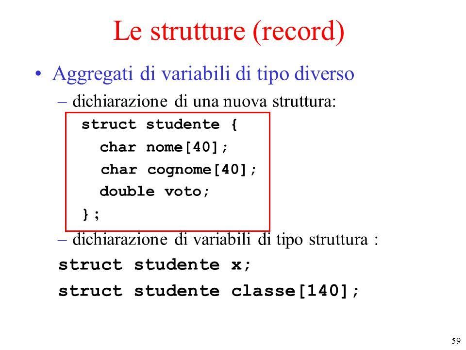 Le strutture (record) Aggregati di variabili di tipo diverso