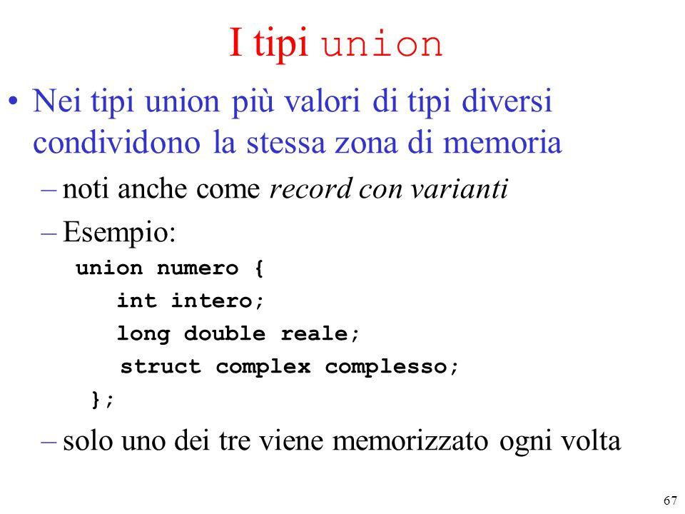 I tipi union Nei tipi union più valori di tipi diversi condividono la stessa zona di memoria. noti anche come record con varianti.