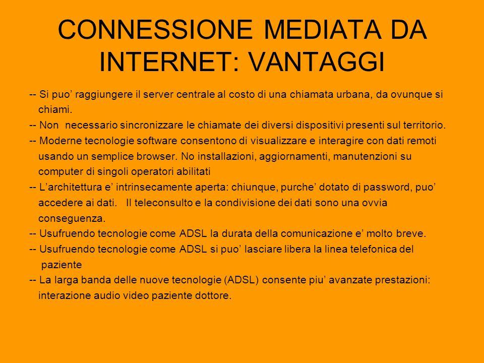 CONNESSIONE MEDIATA DA INTERNET: VANTAGGI