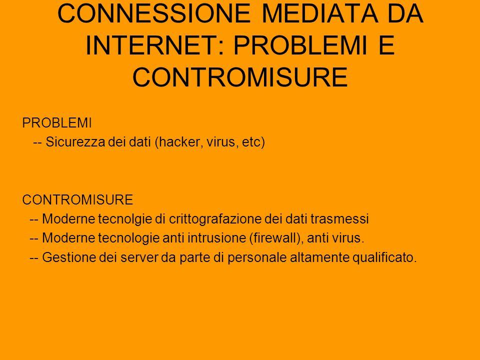 CONNESSIONE MEDIATA DA INTERNET: PROBLEMI E CONTROMISURE