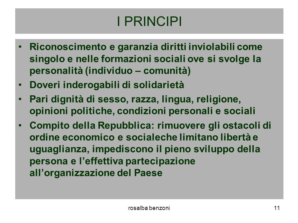 I PRINCIPI Riconoscimento e garanzia diritti inviolabili come singolo e nelle formazioni sociali ove si svolge la personalità (individuo – comunità)