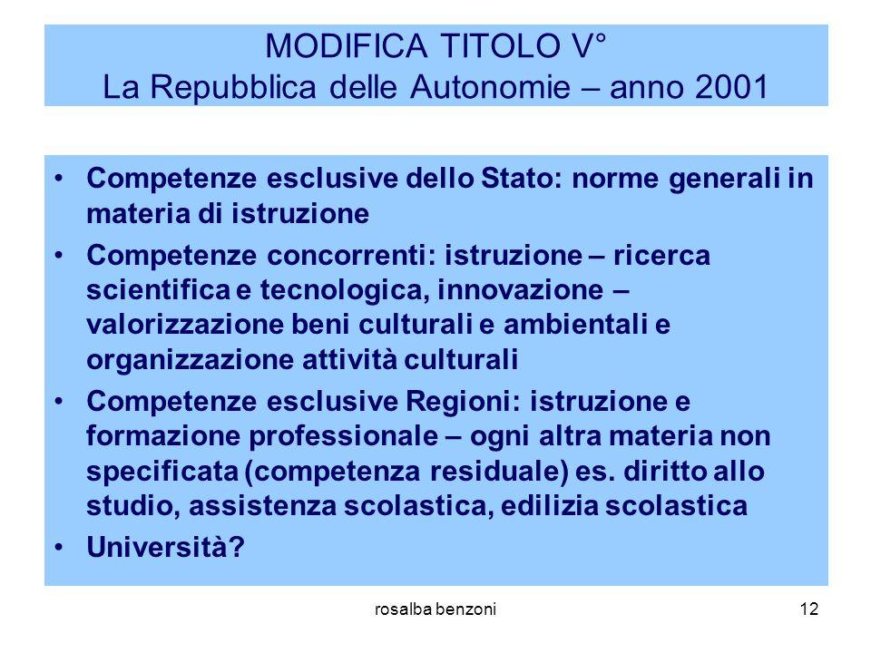 MODIFICA TITOLO V° La Repubblica delle Autonomie – anno 2001