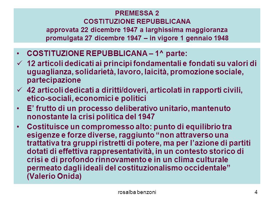 COSTITUZIONE REPUBBLICANA – 1^ parte: