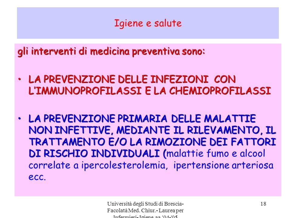 gli interventi di medicina preventiva sono: