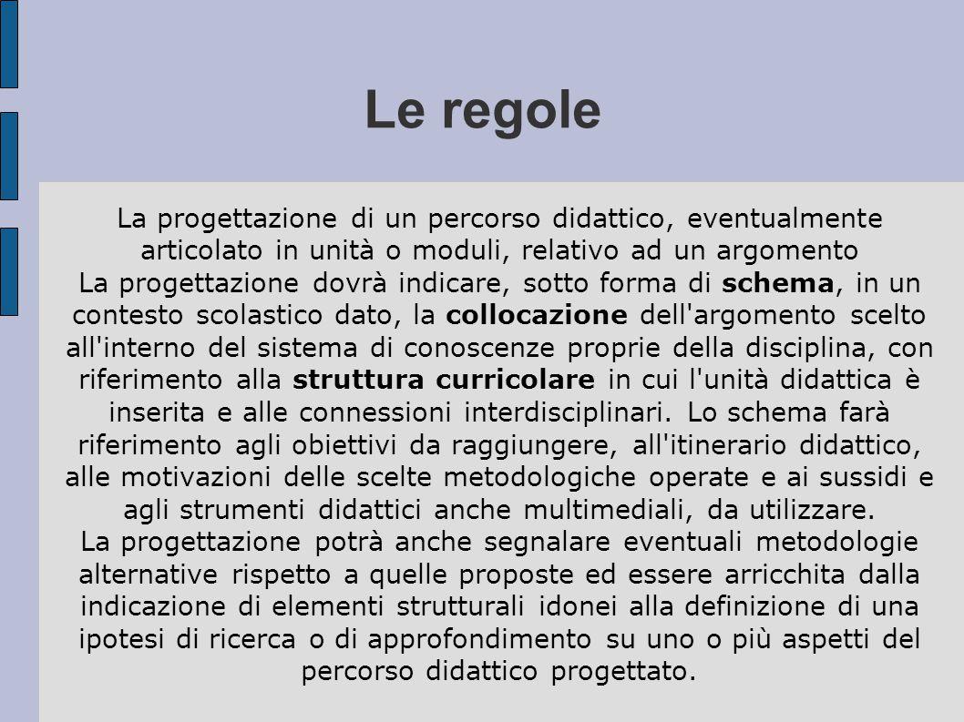 Le regole La progettazione di un percorso didattico, eventualmente articolato in unità o moduli, relativo ad un argomento.