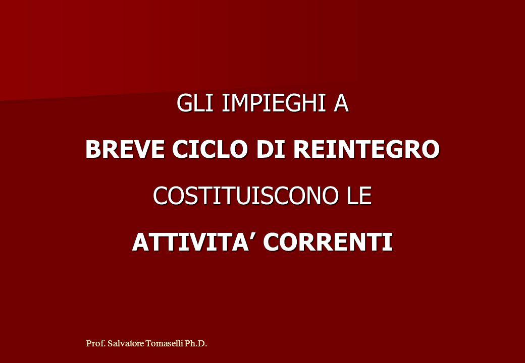 BREVE CICLO DI REINTEGRO