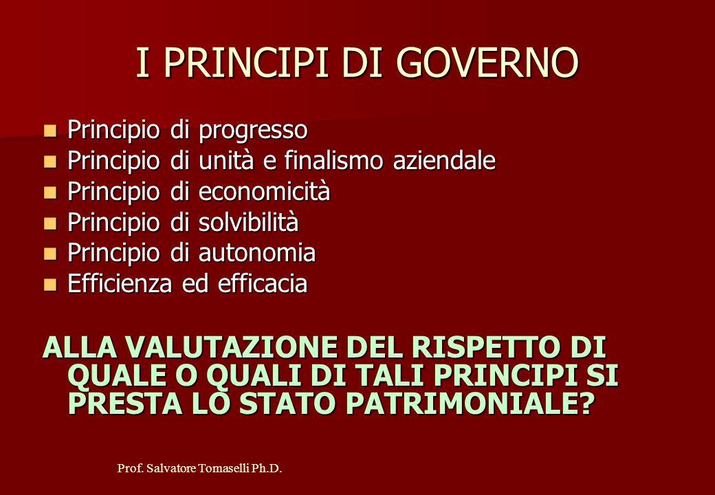 I PRINCIPI DI GOVERNO Principio di progresso. Principio di unità e finalismo aziendale. Principio di economicità.