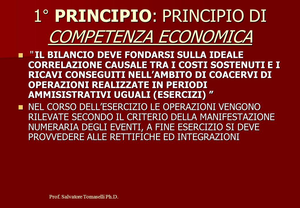 1° PRINCIPIO: PRINCIPIO DI COMPETENZA ECONOMICA