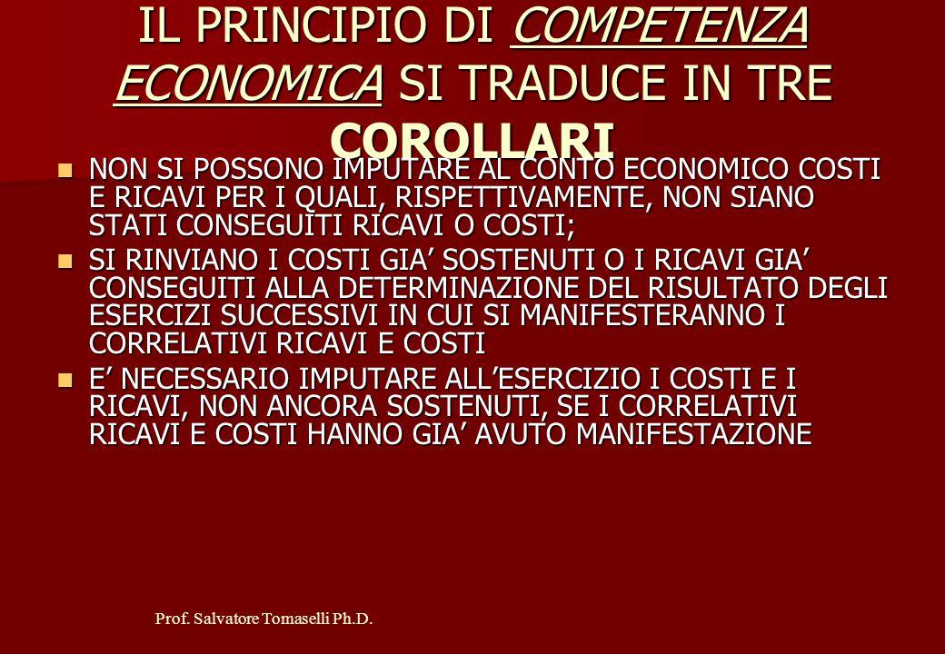 IL PRINCIPIO DI COMPETENZA ECONOMICA SI TRADUCE IN TRE COROLLARI