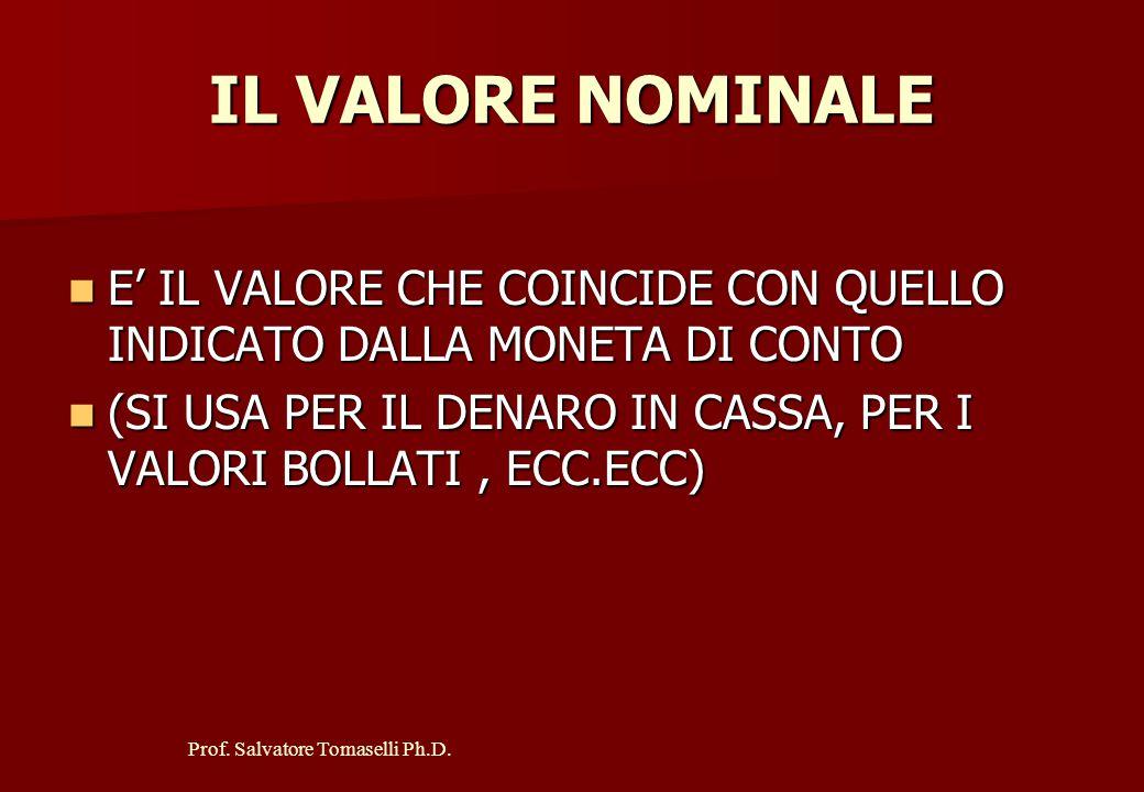 IL VALORE NOMINALE E' IL VALORE CHE COINCIDE CON QUELLO INDICATO DALLA MONETA DI CONTO.