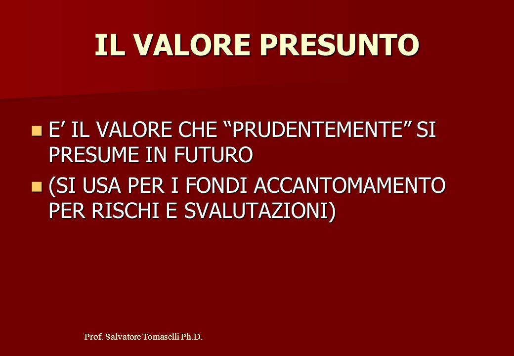 IL VALORE PRESUNTO E' IL VALORE CHE PRUDENTEMENTE SI PRESUME IN FUTURO.
