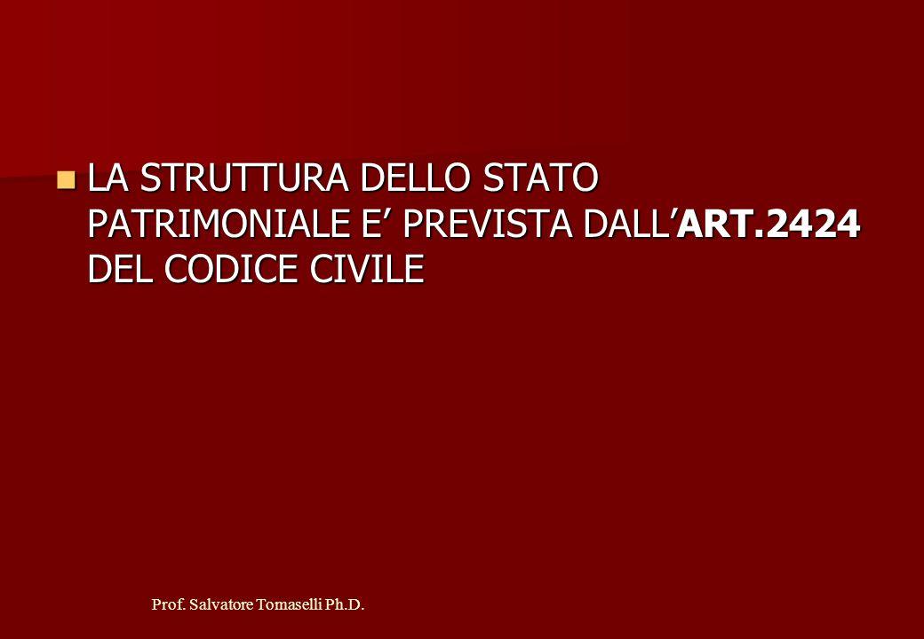LA STRUTTURA DELLO STATO PATRIMONIALE E' PREVISTA DALL'ART