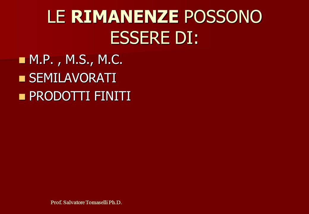 LE RIMANENZE POSSONO ESSERE DI: