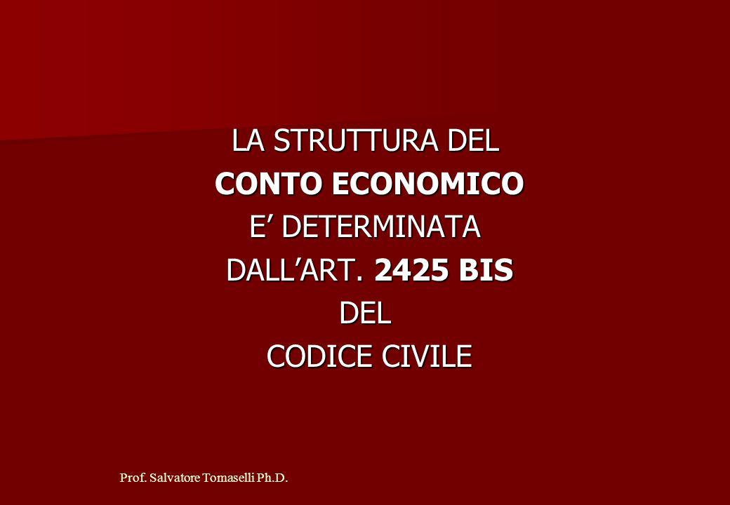 LA STRUTTURA DEL CONTO ECONOMICO E' DETERMINATA DALL'ART. 2425 BIS DEL CODICE CIVILE