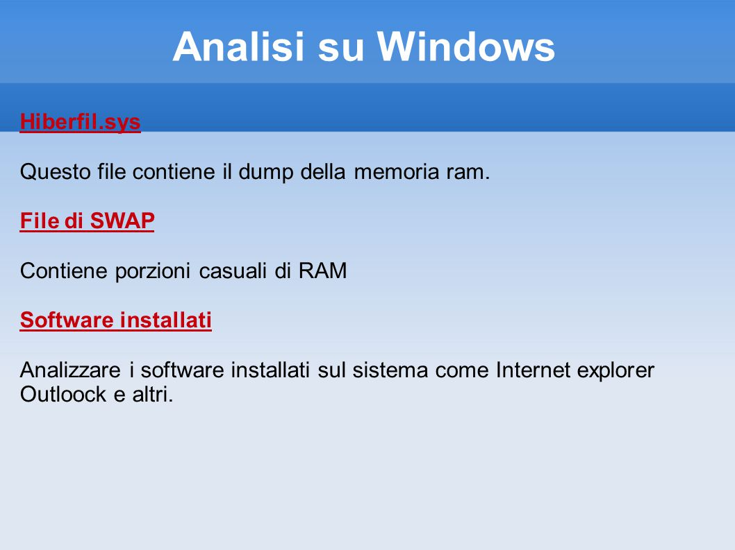 Analisi su Windows Hiberfil.sys
