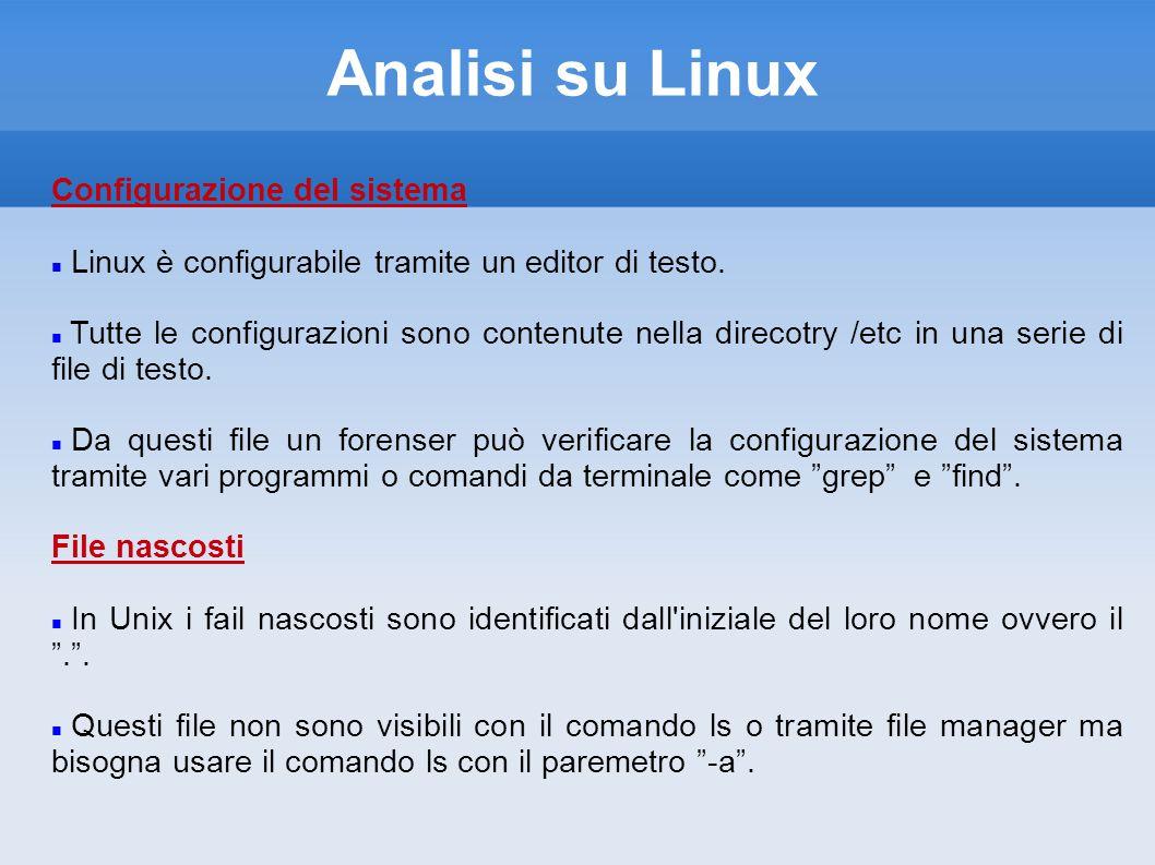 Analisi su Linux Configurazione del sistema