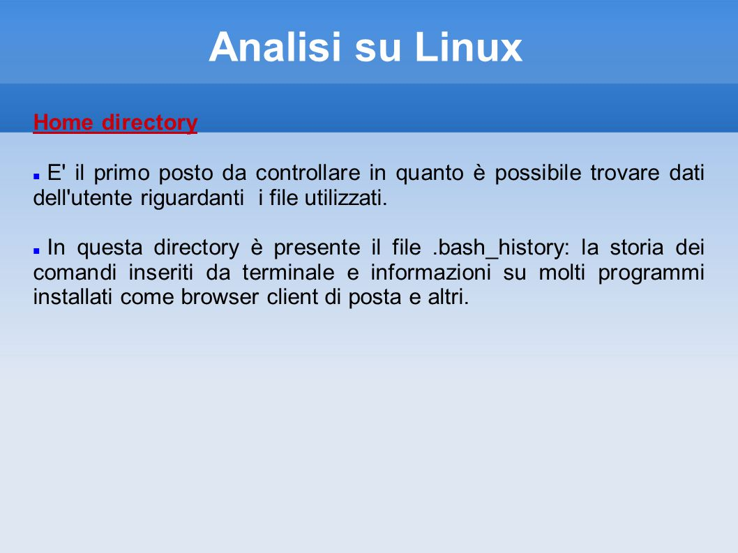 Analisi su Linux Home directory