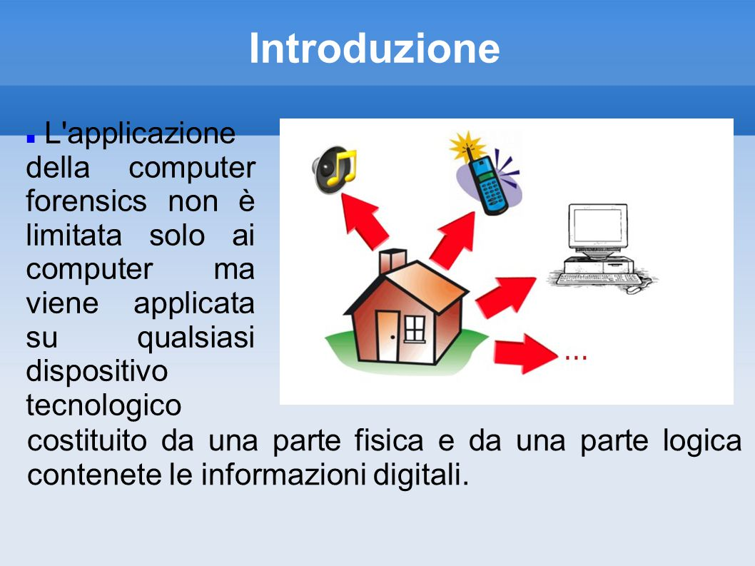 Introduzione L applicazione della computer forensics non è limitata solo ai computer ma viene applicata su qualsiasi dispositivo tecnologico.