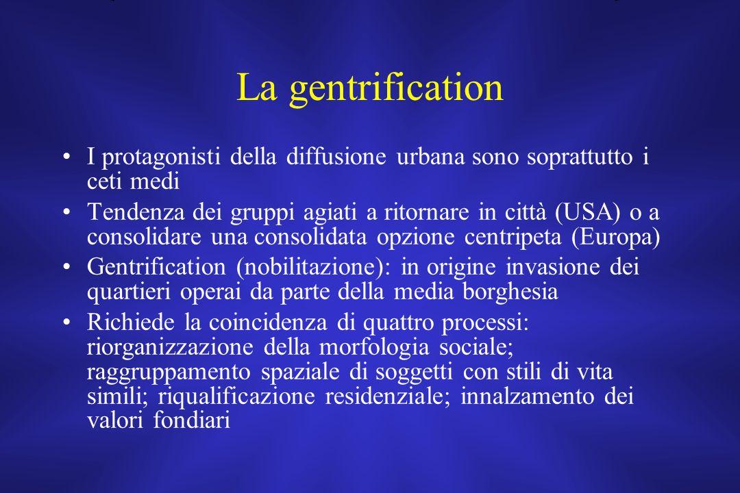 La gentrification I protagonisti della diffusione urbana sono soprattutto i ceti medi.