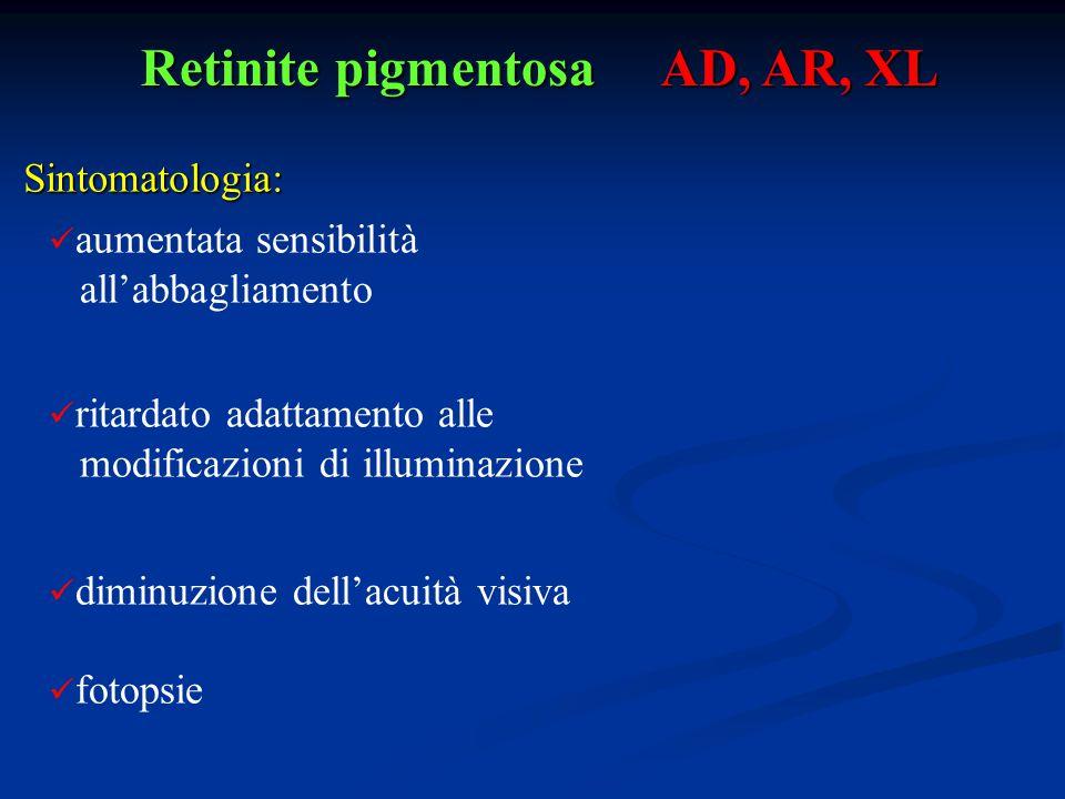 Retinite pigmentosa AD, AR, XL Sintomatologia: aumentata sensibilità