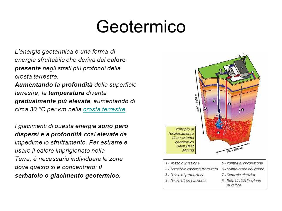 Geotermico L'energia geotermica è una forma di