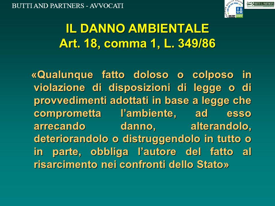 IL DANNO AMBIENTALE Art. 18, comma 1, L. 349/86