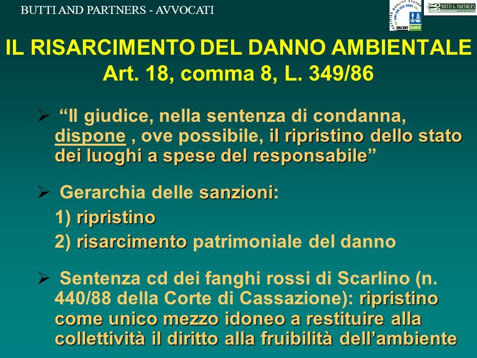 IL RISARCIMENTO DEL DANNO AMBIENTALE Art. 18, comma 8, L. 349/86