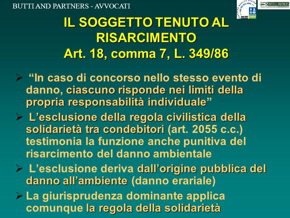 IL SOGGETTO TENUTO AL RISARCIMENTO Art. 18, comma 7, L. 349/86