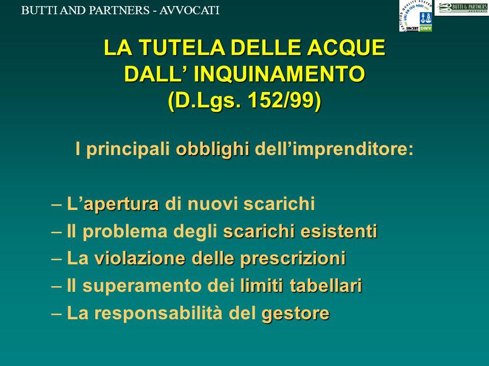 LA TUTELA DELLE ACQUE DALL' INQUINAMENTO (D.Lgs. 152/99)