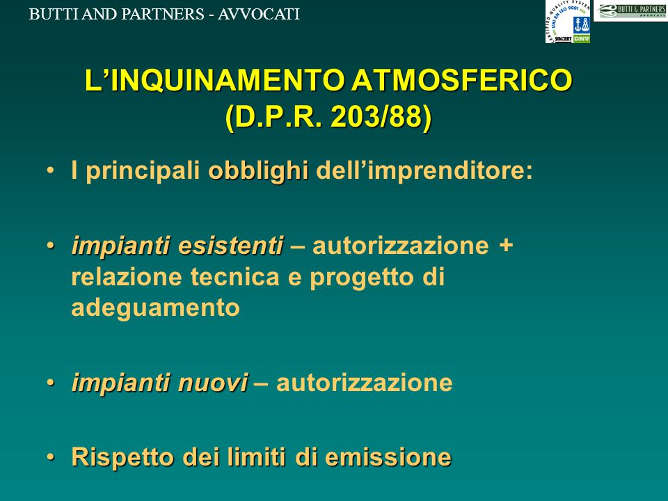 L'INQUINAMENTO ATMOSFERICO (D.P.R. 203/88)